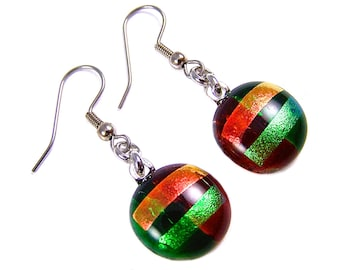 "Dichroic Earrings  Green Red Orange - Dichro Striped Rock Drop Dangle Surgical Steel French Wire or Clip On - Fused Glass - 3/4"" 19mm"