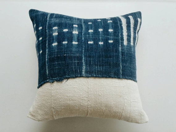 Vintage African Mudcloth Pillow Cover Indigo By
