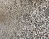 Faux Leather, Fabric, Upholstery, Vinyl, Silver Scroll