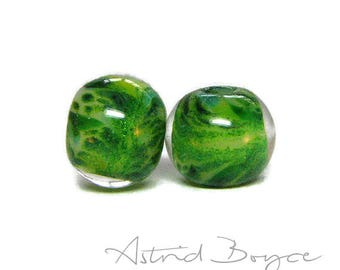 Fir Trees Round Beads Artisan Lampwork Bead Pair - Free USA Shipping - Pantone Greenery - Pantone 2017 Color of the Year-Adventurine Sparkle