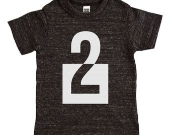 I Am This Many Kids Birthday Shirt - Boys or Girls Clothing - Number Two Geometric Block Shape Birthday Graphic Tee - Kids Birthday Shirt