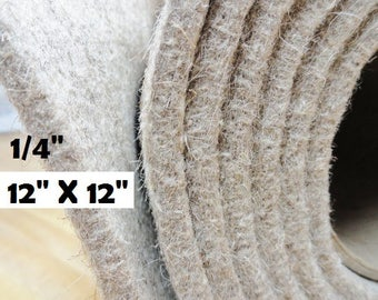 "Insole Padding, Eco Felt Slipper Insoles, 100% Eco Wool Insoles, Shoe Making Supplies, Slipper Supplies, 12 X 12 Insole Sheets, 1/4"" Felt"