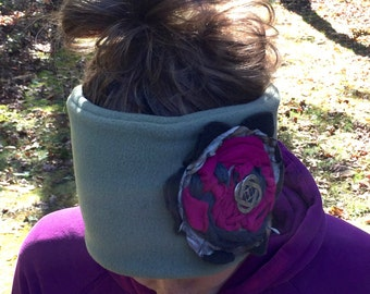 READY to SHIP Wide Fleece Headband with Large Flower and Button Closure Ear Warmer with Anti-pill water resistant polar fleece