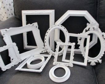 Lot 11 Vintage Shabby White Ornate  Picture Frames  Romantic Wedding FREE SHIPPING US & Canada