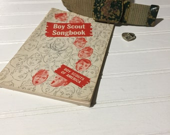 Vintage Boy Scout Song Book Belt  Cubscout ring Toddler Decor Office Decor