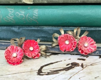 Assemblage Earrings for Re-Design / Vintage Red Plastic / Clip Earrings / Red Flowers / Rescued Artisan Supplies (A3)