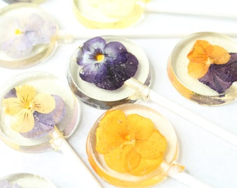 Viola Pansy Pressed Flower Lollipops 8 PCS