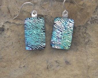 Dichroic Earrings Fused Glass Crinkle Dichroic Earrings