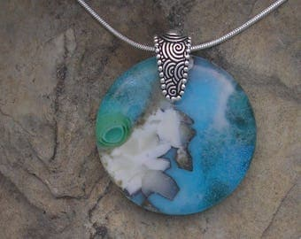 Turquoise Necklace Fused Glass Stone Look Pendant Glass Jewelry