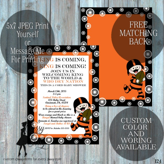 Bengals Them Baby Shower Invitation, Cinncinatti Theme baby SHower, Football Theme Baby Shower Black and Orange  -124