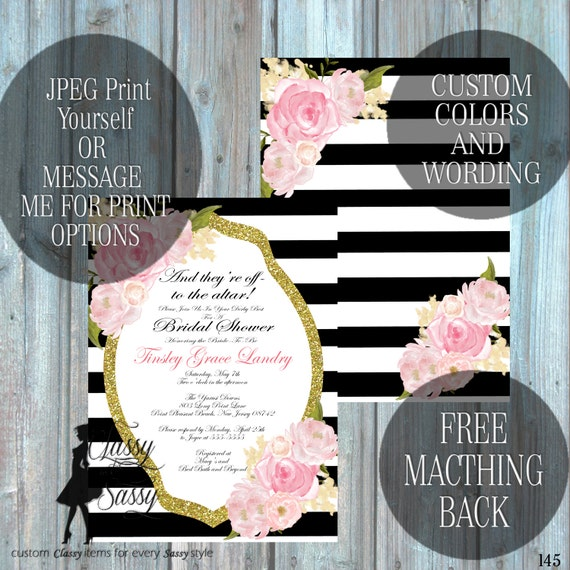 Kentucky Derby theme shower invitation Classic Tea party Shower Tea pArty Luncheon Bridal Shower Invitation 145