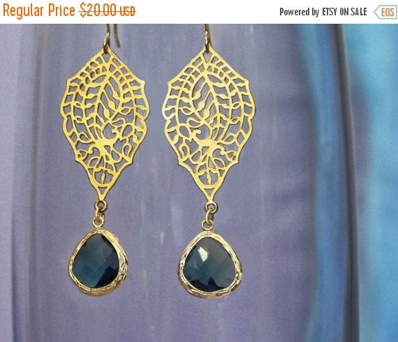 20% off. chandelier Filigree paisley earrings. Gold earrings with framed and faceted navy blue drop