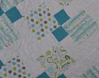 Blue Green Baby Quilt, Patchwork Baby Blanket, Toddler Quilt, Baby Boy Blanket