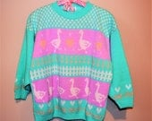Vintage Sweater Ducks with Picket Fence