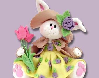 Personalized Belly Bunny Girl Figurine Ornament Handmade Polymer Clay
