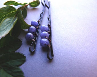 Gemstone Bobby Pins, Dark Blue Bobby Pins, Gemstone Hair Pins, Natural, Boho Blue Bobby Pins