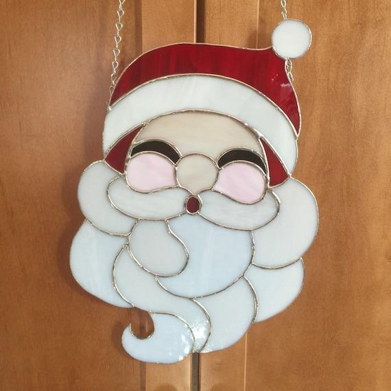 Stained glass christmas santa claus panel suncatcher