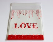 Valentines Love Red and White Cello Bags Favors Self Adhesive 24+ Weddings / Baking / Cookies / Parties