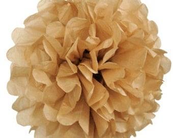 Mocha Tissue Pom Pom 4, 6, 8 or 10 inch Set of 2 /Weddings/Showers/Birthdays/Parties
