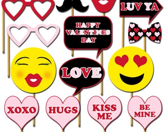 Happy Valentines Day Photo Props, Printable Photo Booth Props, Love Party Props, Emoji Photobooth Props, Party Props - DP423