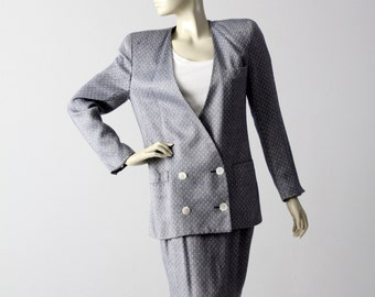 Dior skirt suit, 1980s blue women's skirt and blazer, Christian Dior The Suit