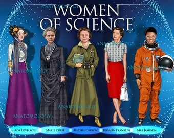 Women in Science Blue poster