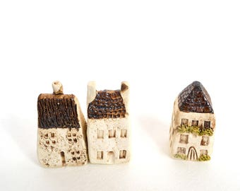 English Countryside Hand Sculpted Ceramic Miniature Houses, Set of Three