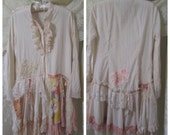 Shabby Chic Blouse, long tea dyed blouse with hints of antique pinks, handmade altered shabby cottage clothes MEDIUM