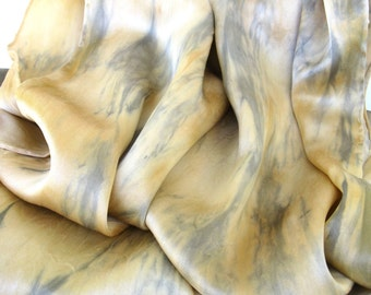 silk SALE   ...    extra large hand dyed silk charmeuse  scarf  ...  wrap  ...  pale gold and silver