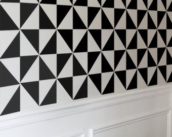 Geometric Stencil for Walls - Pinwheel Tile Pattern - Large, allover stencil for DIY Home Decor