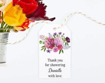 Watercolor Bridal Shower Favor Tags, Large Gift Bag Tag with Mixed Flowers - Size 2 x 3.5 inches, Printed Tags