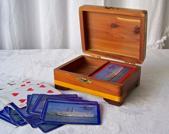 Vintage Wood Playing Card Box Deck Of Cards Cruise Ship Souvenir Pine Card Box 1960s