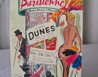 Vintage Las Vegas Show Girl Program Guide La Parisienne Paris Review Dunes Hotel 1960s