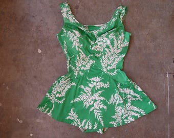 Vtg 70's Green White Floral Sandcastle Bombshell Pin Up Bathing Suit 1 Piece Vintage size 12