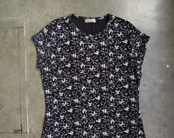 Vtg 90's Floral Print Black Slinky Dress Cap Sleeve Size Medium Large