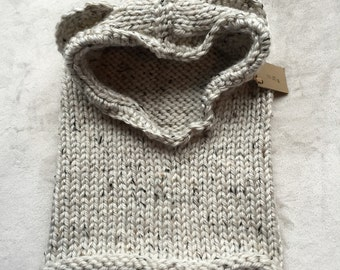 SALE - Ready to ship Knit hooded bear cowl - 9-12 yrs old size