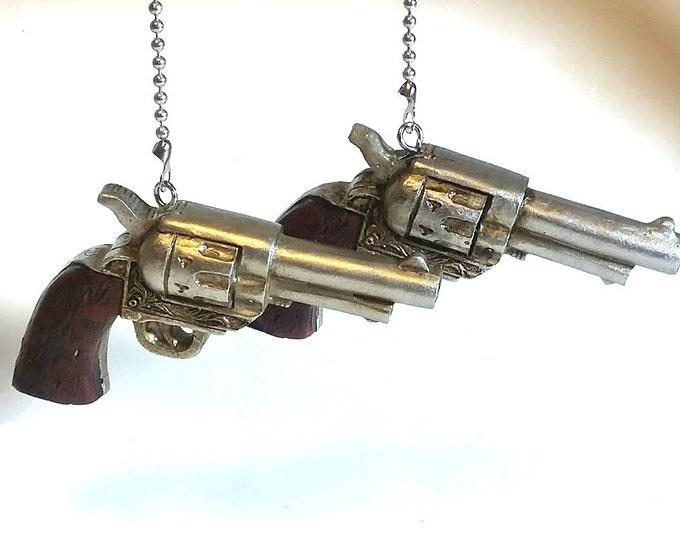 Six Gun Ceiling Fan Pulls, Pistol Fan Pulls, Western Decor, Cowboy Decor, Man Cave Decor, Gun Lover Gift, Gift for Him, Gift for Her