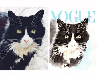 Custom Pet Vogue Cover Watercolor Portrait from Photograph. Choose Size.
