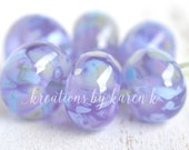 lamp work beads...SRA handmade, pastel lavender shades of lampwork beads, soft colors, beads set of (6) for making jewelry 12417-2