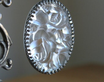 Large Glass Vintage Rose Sterling Silver Necklace Pendant