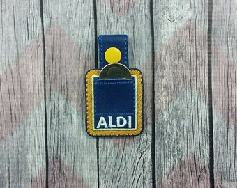 Square quarter holder~Aldi key chain~snap tab~key fob~grocery store coin keeper~purse fob~zipper pull