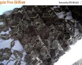 """3DAY SALE 8 3/4"""" (22 cm) Wide Stretch Toffee Brown Gold Metallic Alencon Floral Lace Rose Leaf Pattern for Lingerie Sewing Table Runner Deco"""