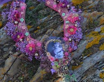 Shabby chic necklace boho necklace gypsy beaded necklace tattered necklace art necklace art to wear necklace