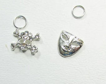 Nail Dangles; Purse, Snowflake, Skull with CZ'S and a Mask in Silver Plating 3A