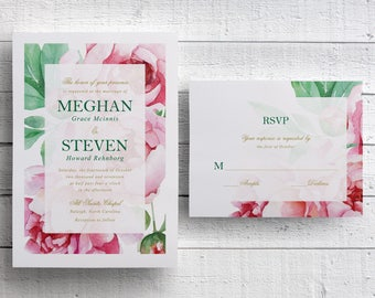 Pink Floral Wedding Invitations, Pink Peonies, Garden Wedding, Spring Wedding, Outdoor Wedding Invite, Pink Wedding, Peony, PRINTABLE