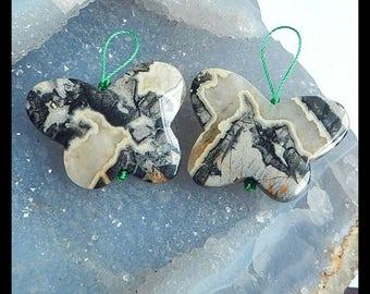 Cheap Handmade Natural Ocean Jasper Earring Bead Semi Precious Gem Jewelry Supply 38x30x6mm 20g
