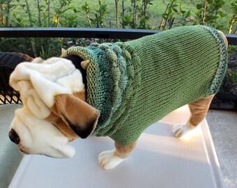 "Dog Sweater Hand Knit English Bulldog Evergreen 19"" inches long Merino Wool"
