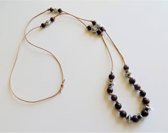 """Brown tigers eye silver and leather necklace 32"""""""
