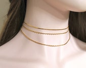 Triple 3 pc Gold Chain Choker Set. Delicate Layered 14k Gold Plated Chain Necklace. Simple, Minimalist, Everyday. Bridesmaid Gift/ Necklace.