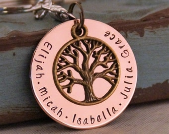 Christmas Gift / Grandma Key chain / Grandpa keychain / Hand stamped personalized keychain / Branches of the same tree
